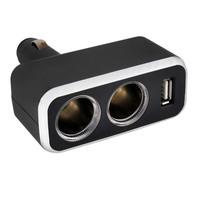 Разветвитель прикуривателя 2 гнезда + USB  SKYWAY Черный, предохранитель 5А, USB 1A