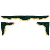 Ламбрекен лобового стекла со шторками SKYWAY 210см/60*60см Зеленый