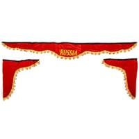 Ламбрекен лобового стекла со шторками SKYWAY 210см/60*60см РОССИЯ Красный