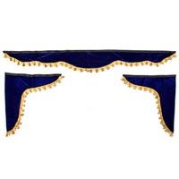 Ламбрекен лобового стекла со шторками SKYWAY 180см/60*60см Синий