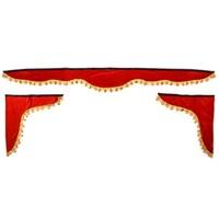 Ламбрекен лобового стекла со шторками SKYWAY 210см/60*60см Красный