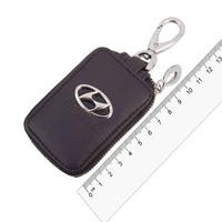 Ключница кожаная  SW прямоугольная, черная, с молнией Hyundai
