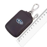 Ключница кожаная  SW прямоугольная, черная, с молнией Subaru