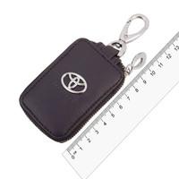 Ключница кожаная  SW прямоугольная, черная, с молнией Toyota