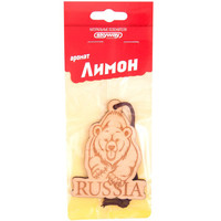 Ароматизатор подвесной деревянный  SKYWAY Медведь RUSSIA Лимон