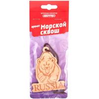 Ароматизатор подвесной деревянный  SKYWAY Медведь RUSSIA Морской сквош