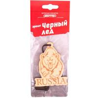 Ароматизатор подвесной деревянный  SKYWAY Медведь RUSSIA Черный лед