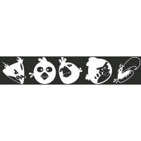 Наклейка БЛИКЕР термо плоттер Angry Birds №1 (50х250) цвет серебро (упак 1шт) SKYWAY