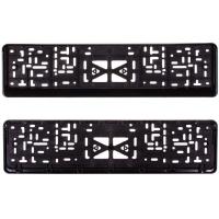 Рамка для номера пластм с защелкой черная без надписи SKYWAY полированная 1шт
