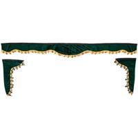 Ламбрекен лобового стекла со шторками SKYWAY 220см/33*60 Зеленый