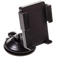 Держатель телефона на лобовое стекло и панель на присоске SKYWAY короткая жесткая ножка Черный