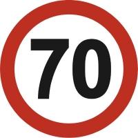 Наклейка Ограничитель скорости круглая ГОСТ 70км/ч (d 146мм) (уп. 10 шт) SKYWAY
