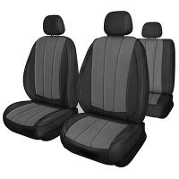 Чехлы сиденья KIA RIO 4 поколение (FB), 2017-н.в. седан Жаккард 12 предметов SKYWAY NEXT Черный/Темно-серый левый руль