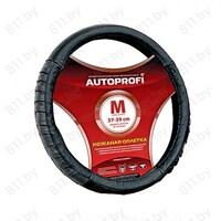 """Оплетка рулевого колеса AUTOPROFI (M) AP-470 BK черная, """"гармошка"""", кожа /20"""