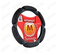 Оплетка рулевого колеса AUTOPROFI (M) SP-5026 BK черная, алькантара /10