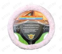 Оплетка рулевого колеса (M) OP-106 меховая розовая /10