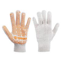 Перчатки вязаные ЛЮКС х/б с ПВХ напылением, 5 нитей, белые, 62гр, 24см, подвес
