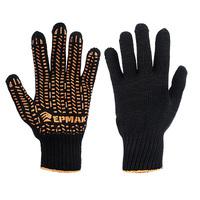 Перчатки вязаные ЛЮКС х/б с ПВХ напылением, 5 нитей, черные, 62гр, 24см, подвес